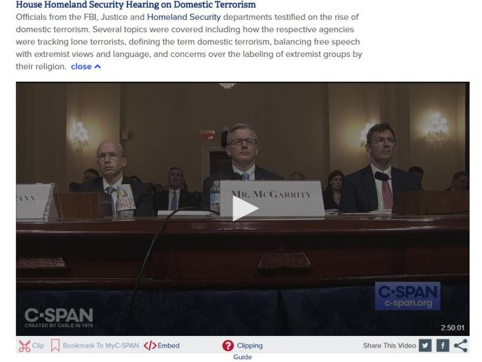House Homeland Security Hearing on Domestic Terrorism