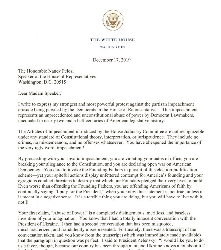 Letter-from-President-Trump-final- to Speaker of the House of Representatives Nancy Pelosi
